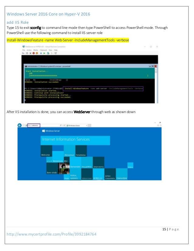 install iis on server 2016 core