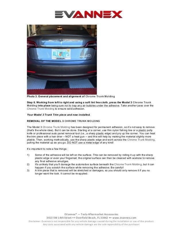 Installation Instructions: EVANNEX Chrome Trunk Molding for Tesla Mod…