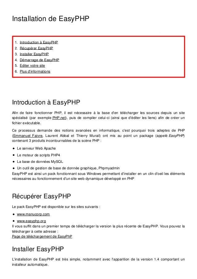 Septembre 2015 Installation de EasyPHP 1. Introduction à EasyPHP 2. Récupérer EasyPHP 3. Installer EasyPHP 4. Démarrage de...