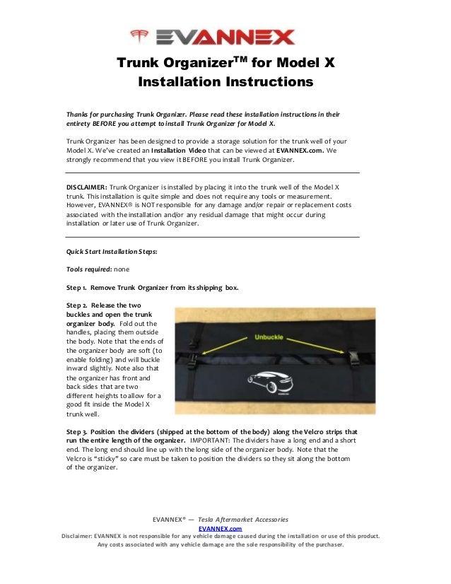 Trunk Organizer for Tesla Model X Instruction Guide