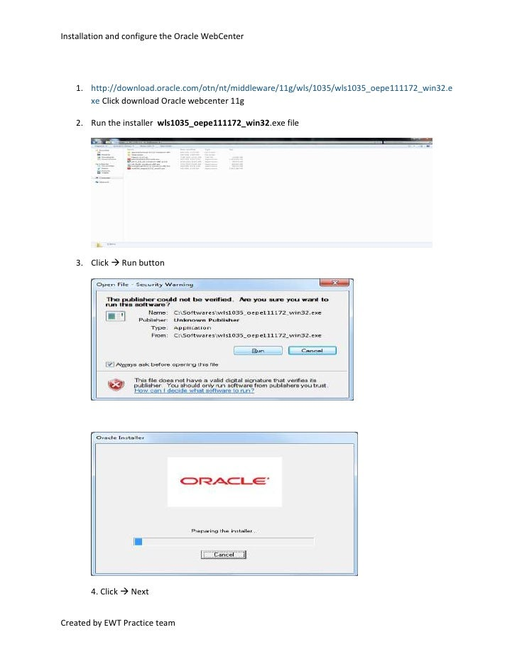 http://download.oracle.com/otn/nt/middleware/11g/wls/1035/wls1035_oepe111172_win32.exe Click download Oracle webcenter 11g...
