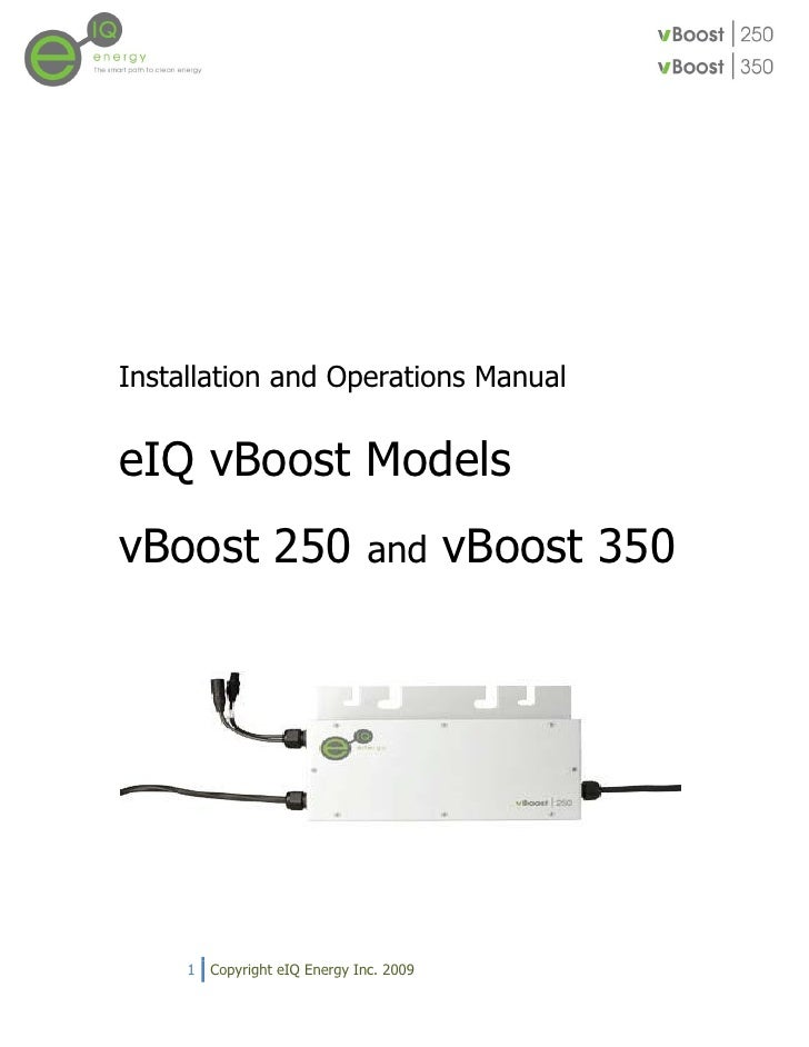 Installation and Operations Manual   eIQ vBoost Models vBoost 250                      and       vBoost 350          1   C...