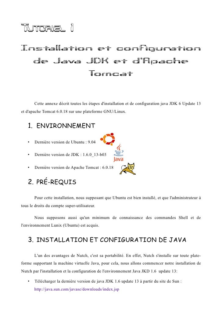 Tutoriel 1 Installation et configuration        de Java JDK et d'Apache                                        Tomcat     ...