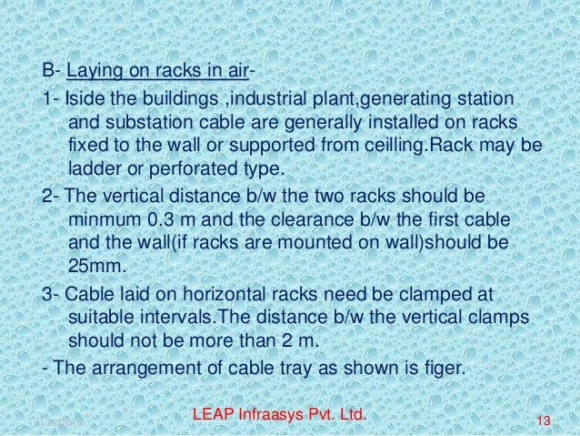 B- Laying on racks in air1- Iside the buildings ,industrial plant,generating station and substation cable are generally in...