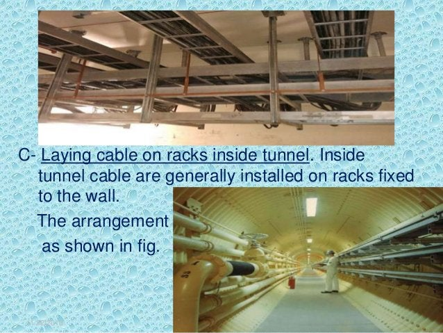 C- Laying cable on racks inside tunnel. Inside tunnel cable are generally installed on racks fixed to the wall. The arrang...