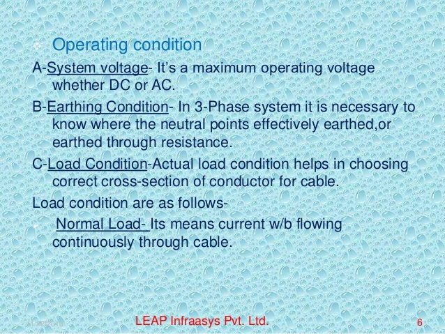   Operating condition  A-System voltage- It's a maximum operating voltage whether DC or AC. B-Earthing Condition- In 3-Ph...