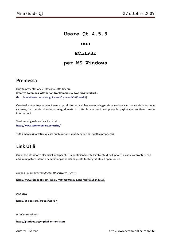 Mini Guide Qt                                                                                 27 ottobre 2009             ...