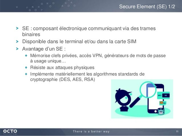 11SE : composant électronique communiquant via des tramesbinairesDisponible dans le terminal et/ou dans la carte SIMAvanta...