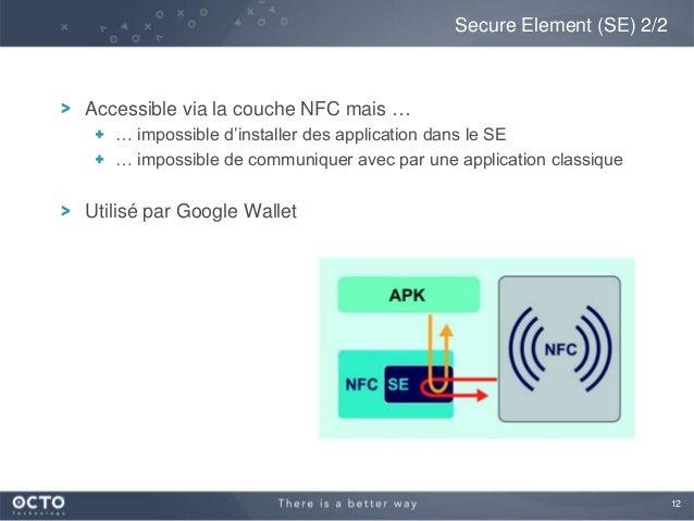 12Accessible via la couche NFC mais …… impossible d'installer des application dans le SE… impossible de communiquer avec p...