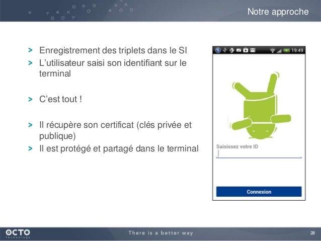 28Enregistrement des triplets dans le SIL'utilisateur saisi son identifiant sur leterminalC'est tout !Il récupère son cert...