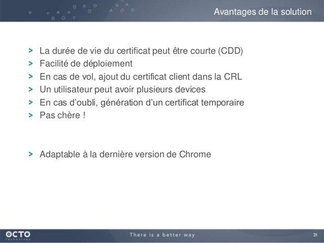 31La durée de vie du certificat peut être courte (CDD)Facilité de déploiementEn cas de vol, ajout du certificat client dan...