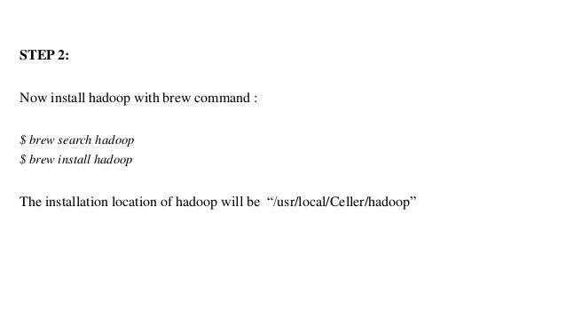 install hadoop on mac sierra