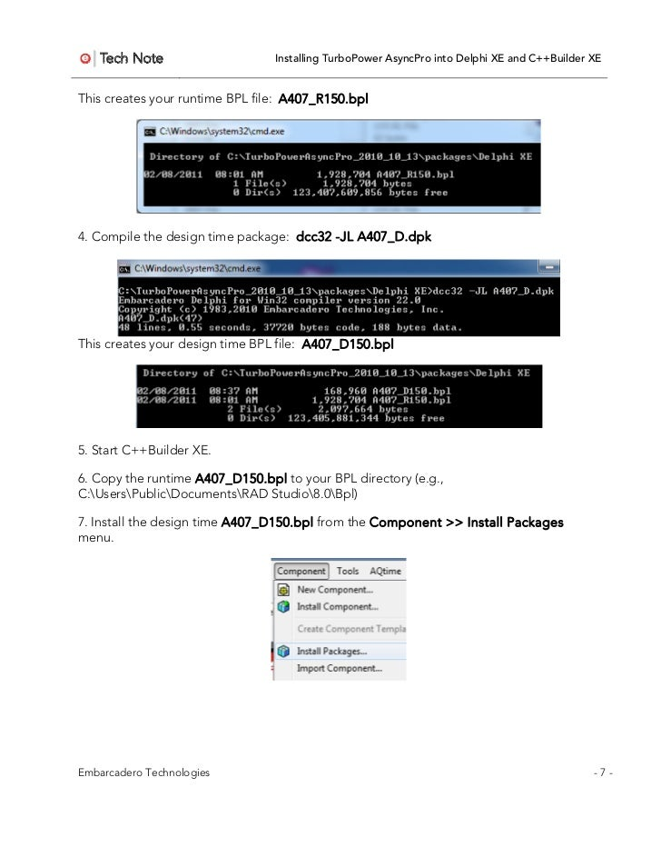 Installing AsyncPro into Delphi XE and C++Builder XE