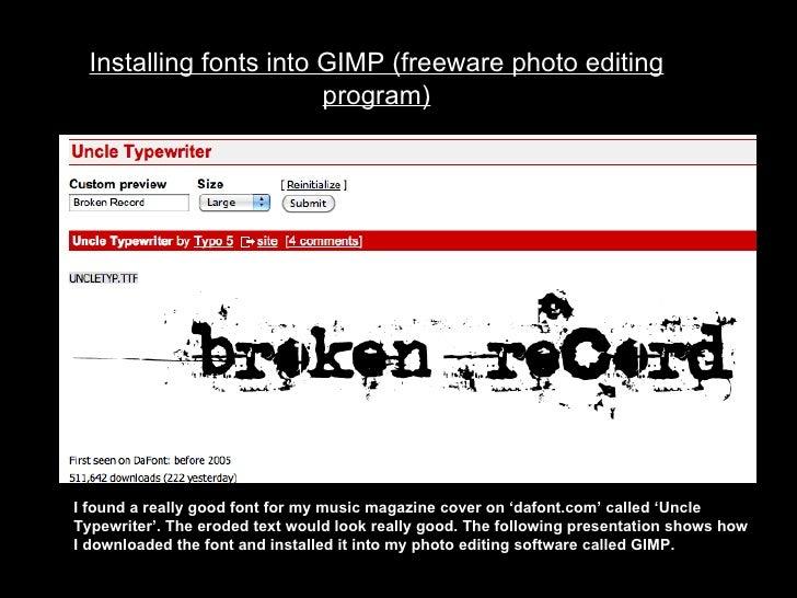 Installing fonts in gimp