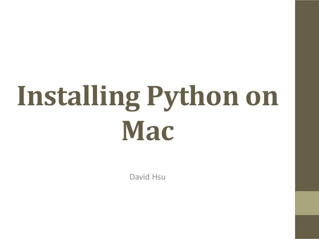 Installing Python on Mac