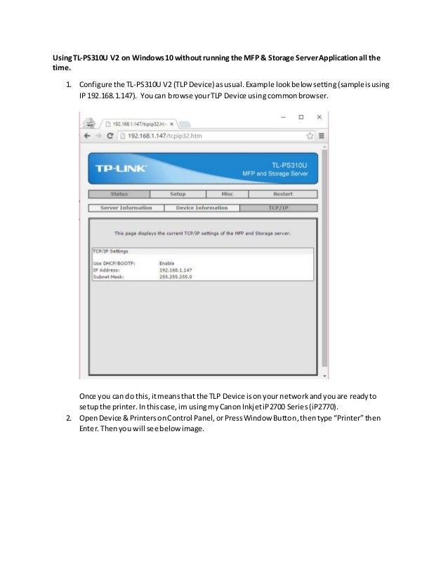 Installing TP-Link PS310U V2 on Windows 10