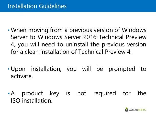 Installing windows server 2016 TP 4
