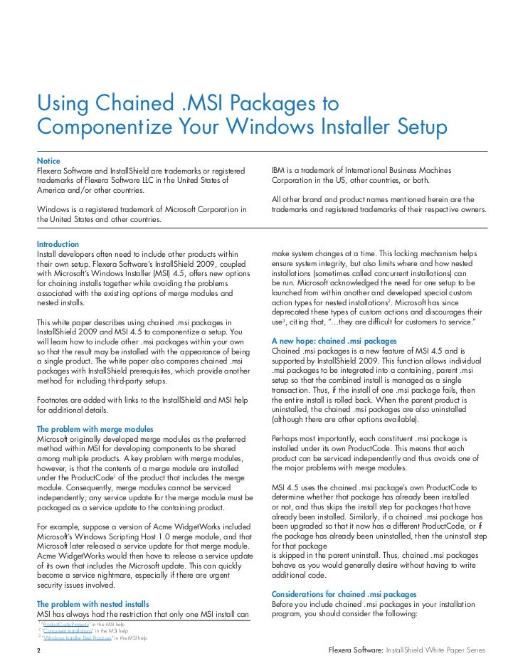 Using Chained  MSI Packages to Componentize Your Windows