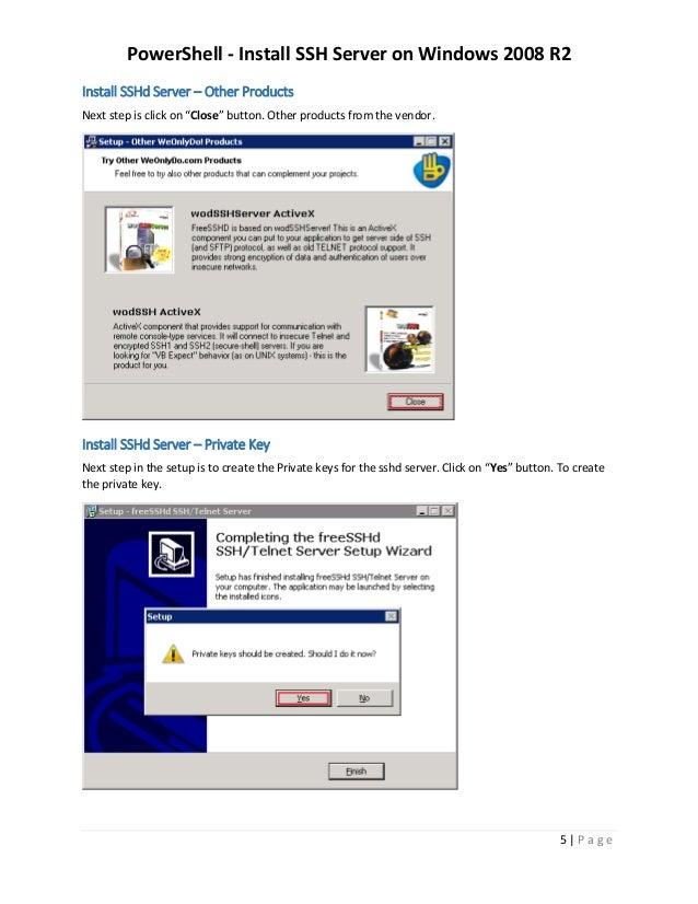 Install SSH Server on Windows 2008 R2
