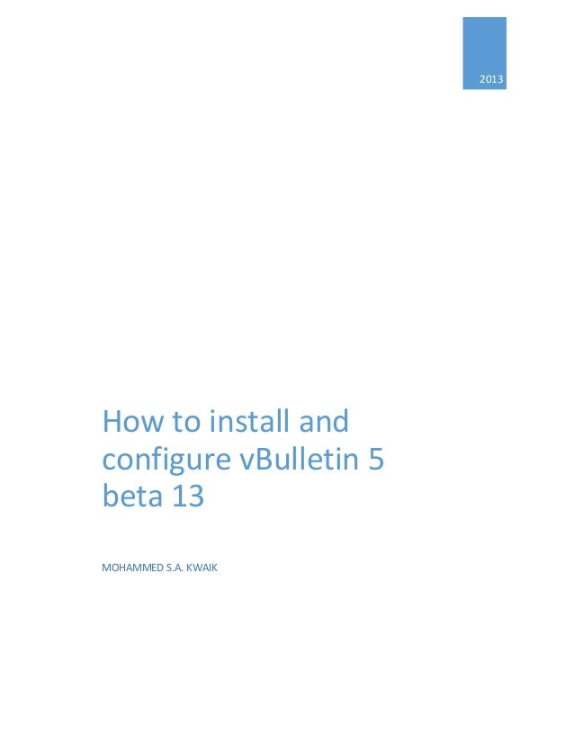 How to install and configure vBulletin 5 beta 13