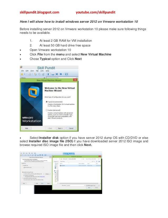 Install windows server 2012 on vmware workstation 10
