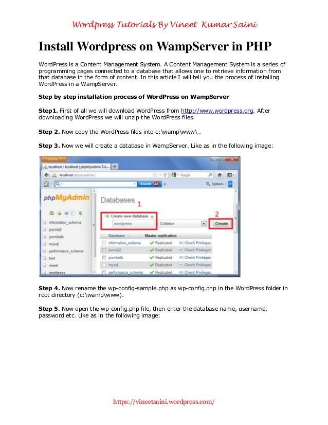 Install wordpress on wamp server in php