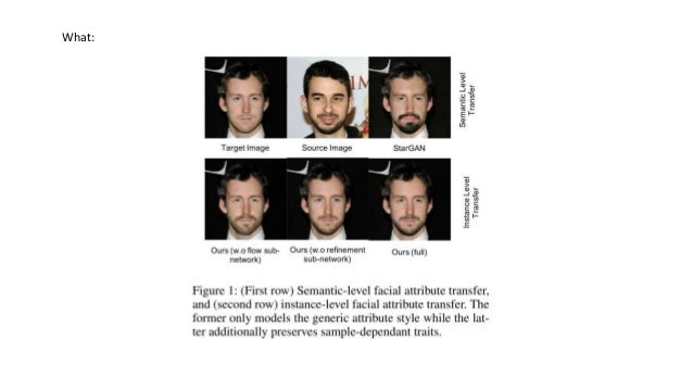 Instance level facial attributes transfer with geometry-aware flow Slide 2