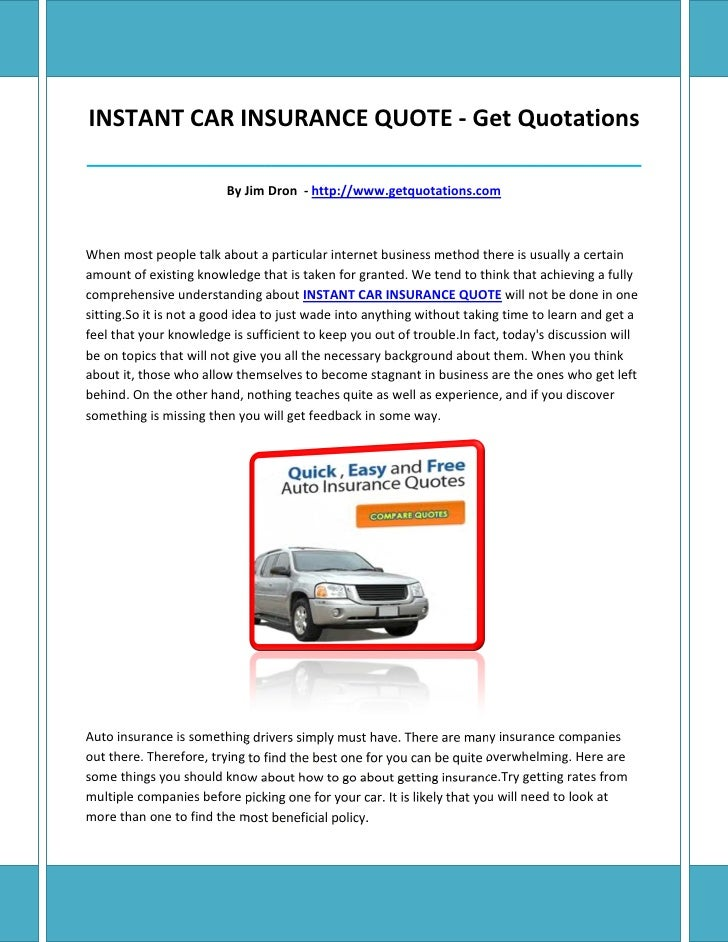 Instant Car Insurance Quote Simple Instant Car Insurance Quote