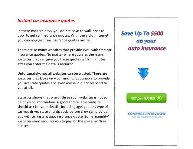 Instant Car Insurance Quote | Instant Car Insurance Quotes