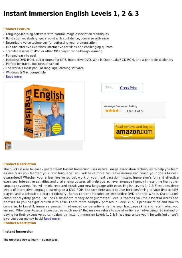 Instant Immersion English Levels 1, 2 & 3Product Featureq   Language-learning software with natural image-association tech...