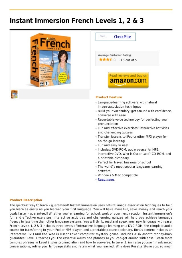 Instant Immersion French Levels 1, 2 & 3                                                                Price :           ...