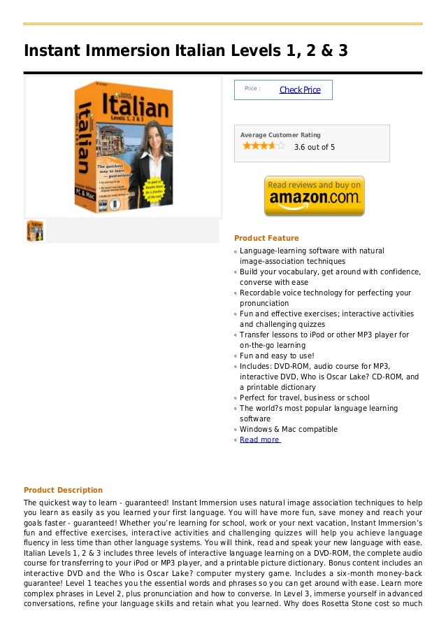 Instant Immersion Italian Levels 1, 2 & 3                                                                Price :          ...