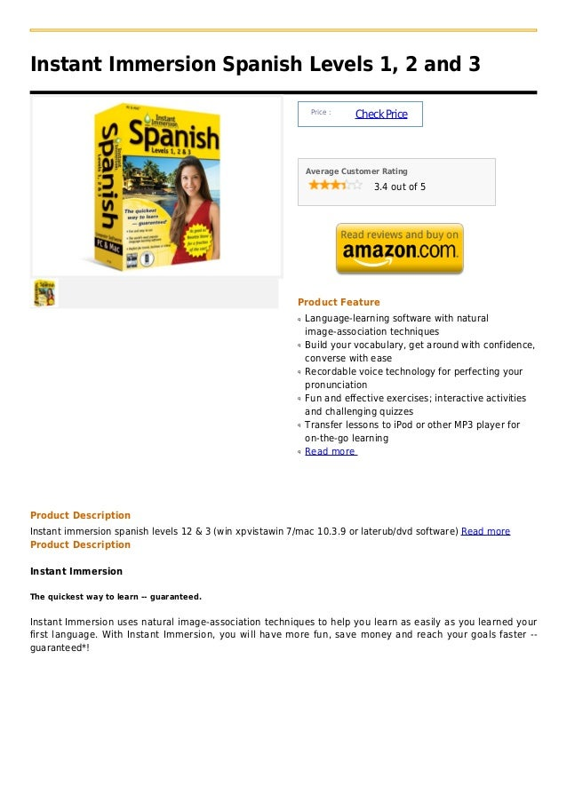 Instant Immersion Spanish Levels 1, 2 and 3                                                              Price :          ...
