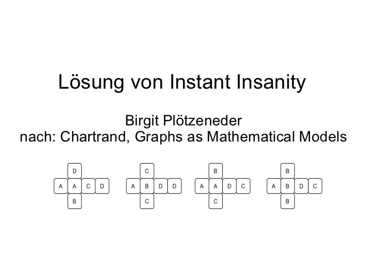 Lösung von Instant Insanity Birgit Plötzeneder nach: Chartrand, Graphs as Mathematical Models