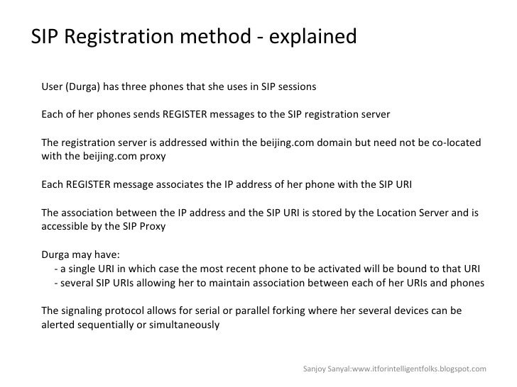 SIP Registration method - explained User (Durga) has three phones that she uses in SIP sessions  Each of her phones sends ...
