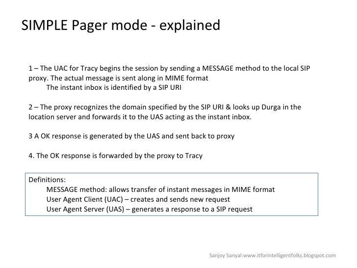 SIMPLE Pager mode - explained Sanjoy Sanyal:www.itforintelligentfolks.blogspot.com <ul><li>1 – The UAC for Tracy begins th...