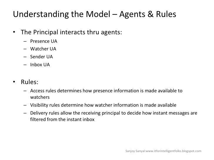 Understanding the Model – Agents & Rules <ul><li>The Principal interacts thru agents: </li></ul><ul><ul><li>Presence UA </...
