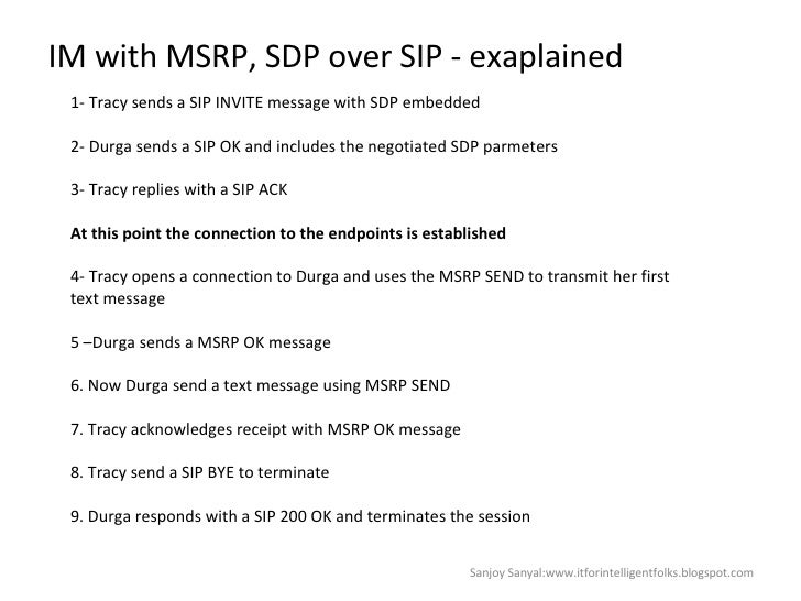 IM with MSRP, SDP over SIP - exaplained Sanjoy Sanyal:www.itforintelligentfolks.blogspot.com 1- Tracy sends a SIP INVITE m...