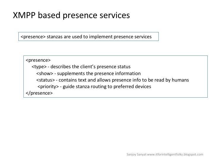 XMPP based presence services Sanjoy Sanyal:www.itforintelligentfolks.blogspot.com <presence> stanzas are used to implement...