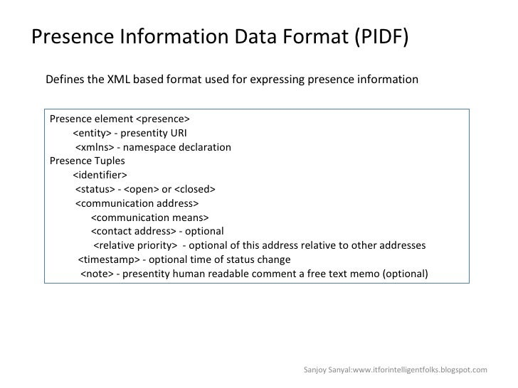 Presence Information Data Format (PIDF) Defines the XML based format used for expressing presence information Presence ele...