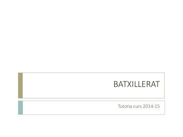 BATXILLERAT  Tutoria curs 2014-15