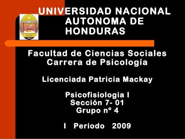 UNIVERSIDAD NACIONAL AUTONOMA DE HONDURAS Facultad de Ciencias Sociales Carrera de Psicología Licenciada Patricia Mackay P...