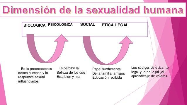 BIOLOGICA PSICOLOGICA SOCIAL ETICA LEGAL Es la procreaciones deseo humano y la respuesta sexual influenciados Es percibir ...