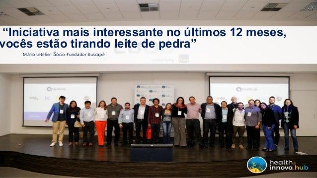 Health Innova HUB, HUB de Inovação em Saúde, completa 1 ano com muito a comemorar! Slide 3