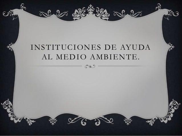 INSTITUCIONES DE AYUDA  AL MEDIO AMBIENTE.