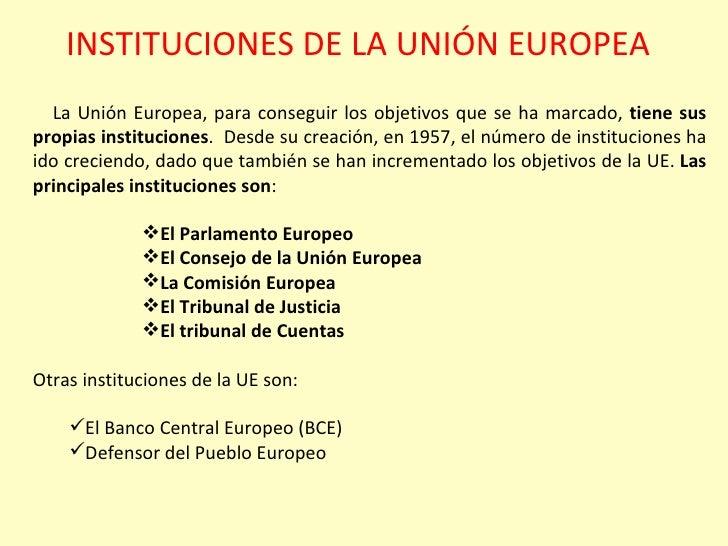 Instituciones de la Unión Europea Slide 2