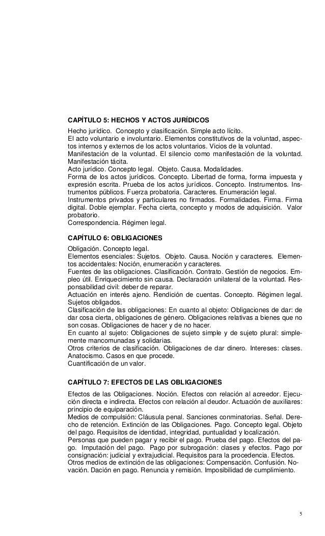 5 CAPÍTULO 5: HECHOS Y ACTOS JURÍDICOS Hecho jurídico. Concepto y clasificación. Simple acto lícito. El acto voluntario e ...