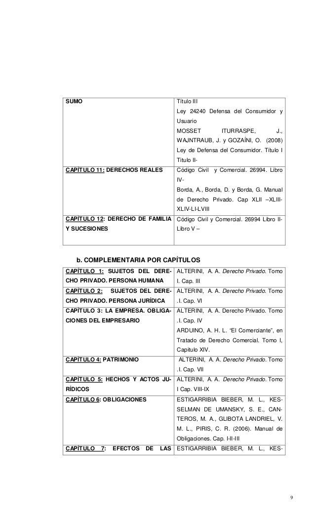 9 SUMO Título III Ley 24240 Defensa del Consumidor y Usuario MOSSET ITURRASPE, J., WAJNTRAUB, J. y GOZAÍNI, O. (2008) Ley ...