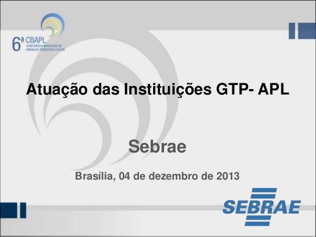 Atuação das Instituições GTP- APL  Sebrae Brasília, 04 de dezembro de 2013