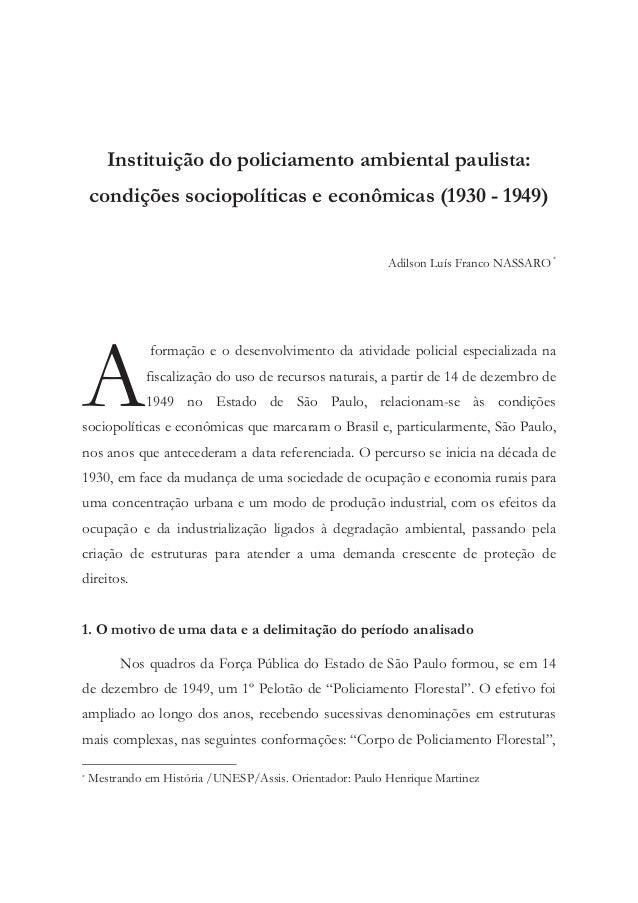 Instituição do policiamento ambiental paulista:    condições sociopolíticas e econômicas (1930 - 1949)                    ...